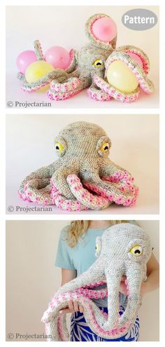 8 Giant Octopus Crochet Pattern Free & Paid - - Apollo the Octopus is a life-sized snuggle buddy. This Giant Octopus Crochet Pattern is a large amigurumi with lots of repetitive parts. Cute Crochet, Crochet Crafts, Crochet Dolls, Yarn Crafts, Knit Crochet, Crochet Baby, Crochet Clothes, Knitted Baby, Knitted Dolls