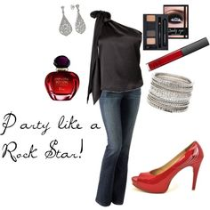 "Lookie!! Rock and Merlot's ""Rock Star"" in red was used to create an outfit on Polyvore! Thanks Tina! :) http://www.rockandmerlot.com/productdetails-9;   Party like a Rock Star, created by qbmom6"