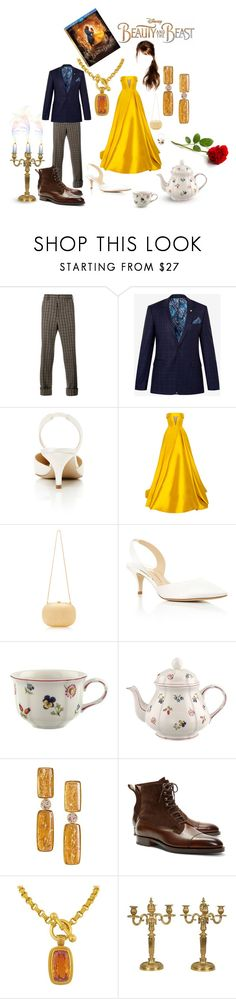 """""""Beauty and the Beast"""" by markblemish ❤ liked on Polyvore featuring Disney, Gucci, Ted Baker, Paul Andrew, Alex Perry, Jeffrey Levinson, Villeroy & Boch, Antonio Bernardo, Brooks Brothers and BeautyandtheBeast"""