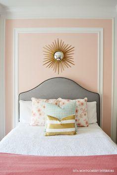 For the big girl room My Home: Tween Bedroom Reveal Bedroom Paint Colors, Beautiful Bedrooms, Interior, Tween Bedroom Decor, Home Decor, Bedroom Decor, Bedroom Hacks, Creative Bedroom, Peach Bedroom