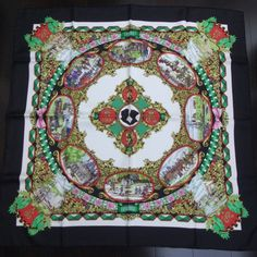 This is an authentic HERMES Silk Lentente Cordiale Scarf 90.   The exceptional quality and charming beauty of this Hermes scarf make it an iconic fashion accessory.