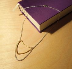 Delicate Gold 'Suspended Triangle' Geometric Pendant Necklace