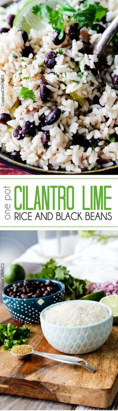 Cilantro Lime Rice and Black Beans (optional) simmered with jalapenos, green chilies and red onion spiked with lime and cilantro. Sub vegetable broth and dairy free butter