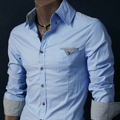 Slim Fit Pocket Dress Shirt