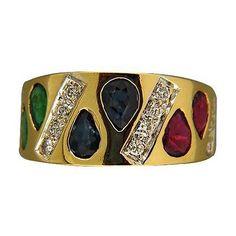 Vintage Top Gem Pear Emerald Ruby Sapphire Flat 18k Yellow Gold Diamond Ring - petersuchyjewelers