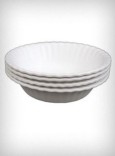"""Washable It's Not Paper Bowls Set  Keep the charm of a classic picnic favorite while reducing waste and helping the environment! These adorable """"It's Not Paper"""" faux paper bowls are made of tough rigid plastic molded to look like a standard paper bowl, and can be washed and reused again and again. Matching faux Paper Plates also available ♥  * Set of 4  * Dishwasher Safe  * Do Not Microwave    $14.00"""
