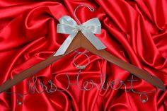 Personalized BRIDAL hanger - with your choice of word or name and satin ribbon bow
