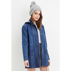 Forever 21 Women's  Hooded Denim Utility Jacket ($35) ❤ liked on Polyvore featuring outerwear, jackets, pocket jacket, blue denim jacket, padded jacket, forever 21 jacket and forever 21