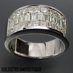 18k White Gold 2.96 Tcw Diamonds Invisible Setting Wide Band Wedding R – Gold Stream Boutique