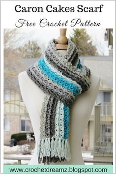 Wishing all my readers a Happy and Peaceful New Year!  Here is a new free crochet pattern for you using the oh so popular Caron Cakes Yarn - Ocean Waves Scarf. The colors and the stitch pattern remind