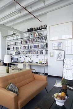 sofa, bookeshelves