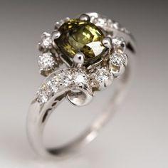 Vintage Demantoid Garnet & Diamond Ring Platinum