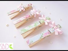 Tutorial: Mollette decorate shabby - DIY shabby clothespins - YouTube