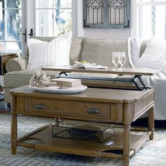 Paula Deen Down Home Visitin' Square Oatmeal Wood Lift Top Coffee Table