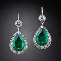 Vintage Style Emerald and Diamond Earrings. Stunning!