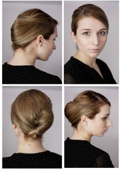Trying out hairstyles that'll help keep your bangs out of your hair? Try something like this - it's clean, elegant, and easy to do!