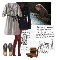 """Liesel Meminger: The Book Thief"" by addictedtomusic98 ❤ liked on Polyvore featuring River Island and Dr. Martens"