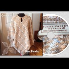 Wool Poncho Made In Ireland Stunningly beautiful wool blend checkered woven plaid poncho made by Boyne Valley Weavers. OSFA. Asymmetrical with fringe bottom. Made in Ireland. Soft, warm and comfy! Excellent condition! An essential piece. Clover crochet pattern at neck with loop. Key hole front. Colors: Off white, tan, brown, Robbins egg blue. ✔️Smoke & Pet Free Boyne Valley Weavers Sweaters Shrugs & Ponchos