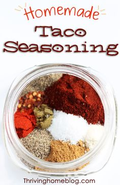 Skip the artificial ingredients and preservatives and make your own taco seasoning. Double or triple the recipe and save it in your spice cabinet for future use!