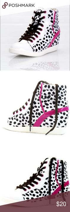 Animal Print Wedge Sneakers Tap into your wild side with these cute yet sporty animal print wedge sneakers! Can't find anywhere else and no longer online, never worn and still in box! Qupid Shoes Sneakers
