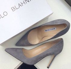 Grey Suede Manolo Blahniks via Broke Girl, Expensive Taste