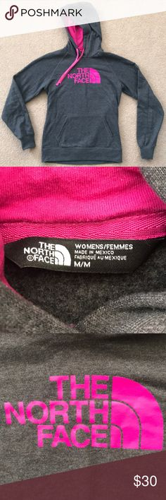 Don't wear anymore and I have too many clothes North Face Women's Avalon Half Dome Pullover Hoodie, Dark Grey And Pink. The hoodie pretty much brand new. Worn only a hand few of times and it just sits in my closet. North Face Sweaters