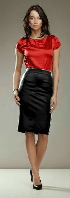 Black Satin Pencil Skirt Red Satin Blouse Sheer Pantyhose and Black High Heels I just adore this office look! Sexy Blouse, Blouse And Skirt, Blouse Dress, Dress Skirt, Satin Pencil Skirt, Satin Skirt, Satin Dresses, Satin Blouses, Red Blouses
