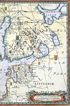 Southern Finland, Estonia, part of Russia( nowadays area around St. Petersburg) Nova Et Accurata ORBIS ARCTOI tabula geographica History Of Finland, Map Pictures, Orbis, Old Maps, Continents, Geography, Genealogy, Art History, Vintage World Maps