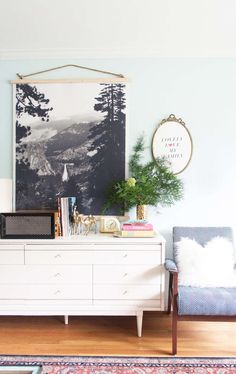 DIY Black and white wall hanging