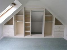 Angled ceilings don't have to restrict storage space! Angled ceilings don't have to restrict storage space! :]… Angled ceilings don't have to restrict storage space! Small Attic Room, Small Attics, Attic Loft, Loft Room, Attic Spaces, Closet Bedroom, Diy Bedroom, Small Spaces, Loft Closet
