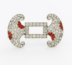 Art Deco. Diamond and Coral Set Brooch. Belgium, circa 1920.