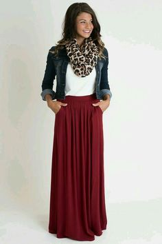 Moderate Church Outfits 7 Jean jacket leopard scarf, maroon maxi skirt How To Look Amazing This Spring with These 15 Church Outfits. See more about Church outfits, Modest outfits and Modest Clothing for Women. Mode Outfits, Fall Outfits, Fashion Outfits, Casual Outfits, Fall Teacher Outfits, Teacher Wear, Vegas Outfits, Teacher Fashion, Hijab Casual
