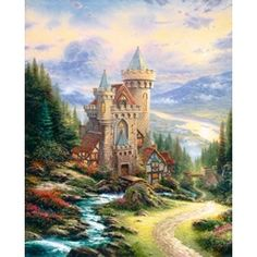 """Guardian Castle"" canvas 30"" x 24"" + frame (Thomas Kinkade collaberation with David Winter)"