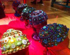 Crochet and Button hats by Kaffe Fasset. The American Museum. Bath Uk, Textile Fabrics, Headgear, Fascinator, Needlepoint, Loom, Needlework, Knitted Hats, Knit Crochet