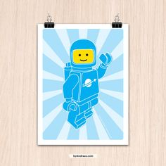 Lego 9x12 Hello SpaceBoy Blue Color Print by my friend Andreas on Etsy