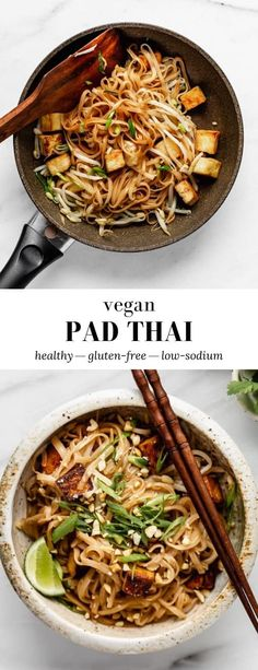 This Vegan Pad Thai is made with fresh simple ingredients like bean sprouts, garlic, and lime juice, and takes less than 30 minutes to make! Vegan Dinner Recipes, Whole Food Recipes, Vegetarian Recipes, Healthy Recipes, Healthy Breakfasts, Dinner Healthy, Vegetable Recipes, Dessert Recipes, Vegan Pad Thai