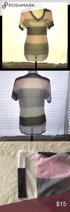 Striped Printed Pocket Tshirt, Size Large This top is a cotton blend. It is a sheer Tshirt.  The size chart is included with the photos. This shirt does run small. Boutique Tops Tees - Short Sleeve
