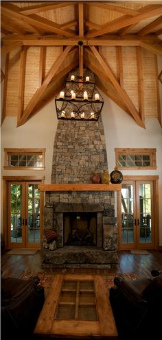 Davis Peak Timber Frame #rustic great room
