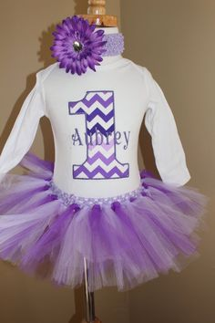 Baby Girl 1st Birthday Chevron Personalized number 1 First 1st birthday tutu OUTFIT birthday embroidered monogram/ purple aqua