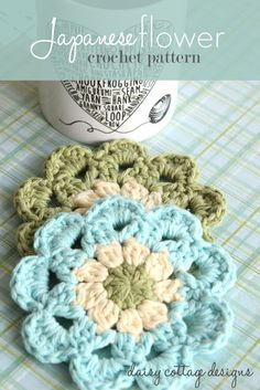 Easy Crochet Coasters from Adorable Japanese flower motif - can be made into coasters. If you're ambitious, you could join a bunch and make a beautiful, summery afghan, too. Diy Tricot Crochet, Cute Crochet, Crochet Motif, Beautiful Crochet, Crochet Crafts, Yarn Crafts, Crochet Projects, Crochet Home, Crochet Kitchen