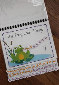 Interactive frog counting book: A great addition to your math learning center or to your collection of busy books/ lap books. Provides hands on opportunities to practice counting, patterning, construction/deconstruction numbers, and addition.