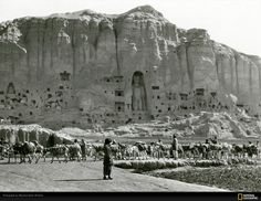 Buddhist complex of Bamian. Afghanistan, 1931 year. Photography of National Geographic, author - Maynard Owen Williams (1888-1963).