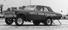 ch3 It didn't take long for Candies and Hughes to take the next step, which was this nitro-burning altered-wheelbase Plymouth Belvedere F/X entry, sponsored by Jake's Speed Equipment. The car ran in 1965 and 1966 and was replaced by a lighter Dart in 1967.