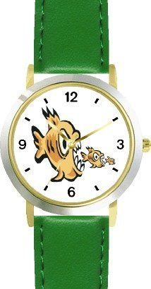 Piranhas, Fish eating Fish Animal - WATCHBUDDY® DELUXE TWO-TONE THEME WATCH - Arabic Numbers - Green Leather Strap-Size-Children's Size-Small ( Boy's Size & Girl's Size ) WatchBuddy. $49.95
