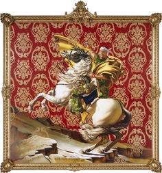 "Kehinde Wiley Studio - Napoleon Leading the Army Over the Alps, 2005 Oil on canvas 108"" x 108"""