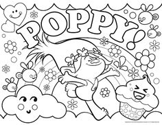 Image result for troll poppy colouring pages