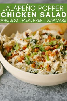 This Jalapeño Popper Chicken Salad is a quick, easy, and flavorful lunch that you can prep ahead and pack all week. Enjoy the flavor of a jalapeño popper in a simple salad for lunch! recipes with chicken Low Carb Recipes, Diet Recipes, Chicken Recipes, Cooking Recipes, Healthy Recipes, Easy Paleo Dinner Recipes, Easy Whole 30 Recipes, Gluten Free Dinner, Kitchen Recipes