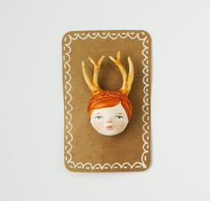 Red-haired antler girl pin brooch - Paper clay wearable art - Quirky accesory for woodland lovers