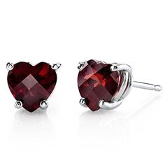14 Karat White Gold Heart Shape 175 Carats Garnet Stud Earrings -- Want to know more, click on the image.-It is an affiliate link to Amazon. #WeddingEarrings