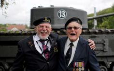 British Normandy Veterans (L) Joe Cattini, 91, and Denys Hunter, 90, who were both in the same unit of Herefordshire Yeomanry on Gold Beach ...